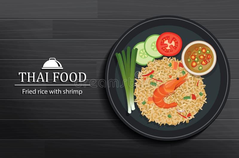 Tajlandzki jedzenie w naczyniu na czarnym drewnianym stołowym odgórnym widoku smażąca ryżowa garnela royalty ilustracja