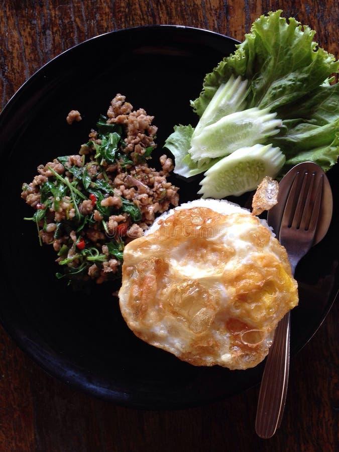 Tajlandzki karmowy basilu pieczony kurczak i smażący jajko obrazy stock