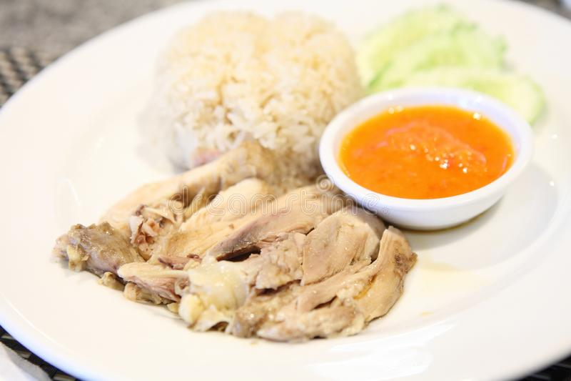 Tajlandzki karmowy smakosz dekatyzował kurczaka z ryż, khao mun kai zdjęcia royalty free