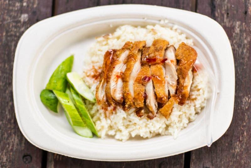 Tajlandzki karmowy wyśmienity pieczony kurczak z ryż, khao mun kai tod fotografia royalty free