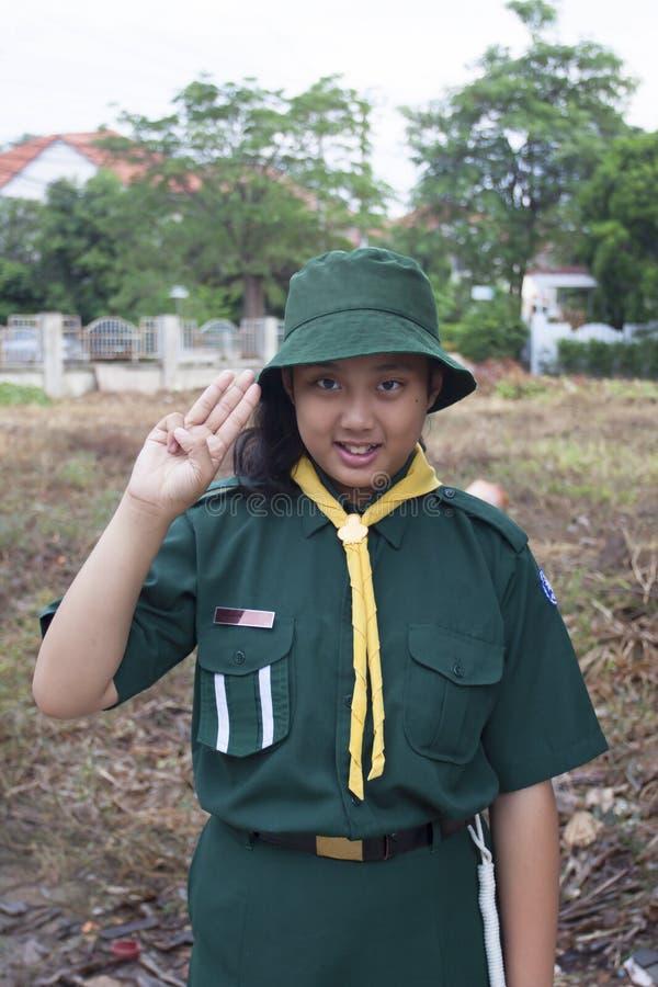 Tajlandzki skautki zieleni mundur obrazy royalty free