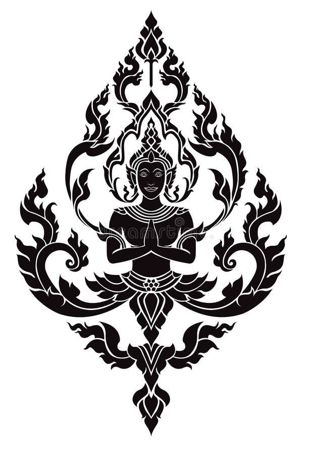 Tajlandzki sztuka anioł, wektoru wzór obrazy stock