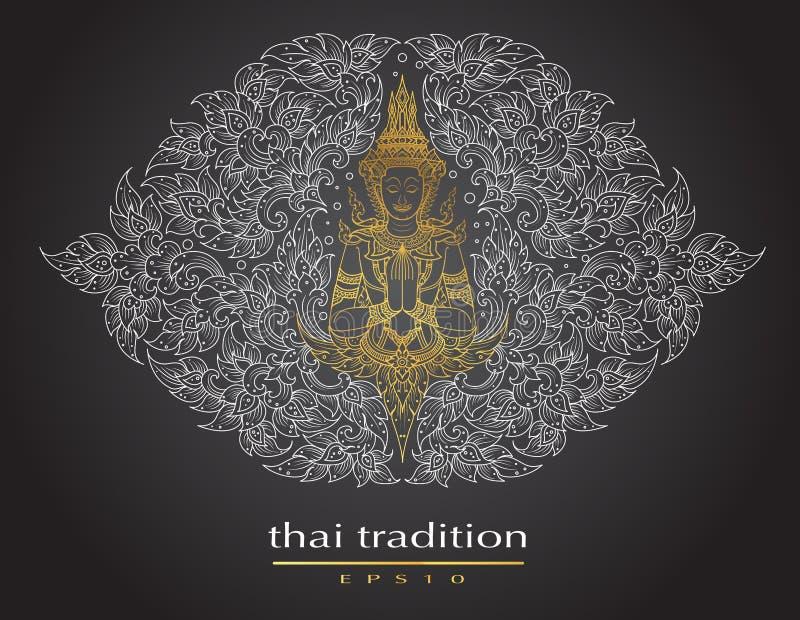 Tajlandzki sztuka element Tradycyjny Buddha kwiaty ilustracji