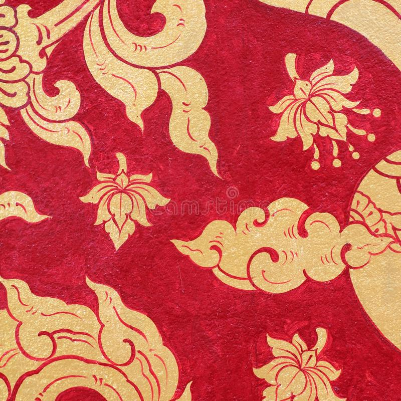 Download Tajlandzki Sztuki Farby Czerwieni Złoto Obraz Stock - Obraz złożonej z asia, stary: 53791555
