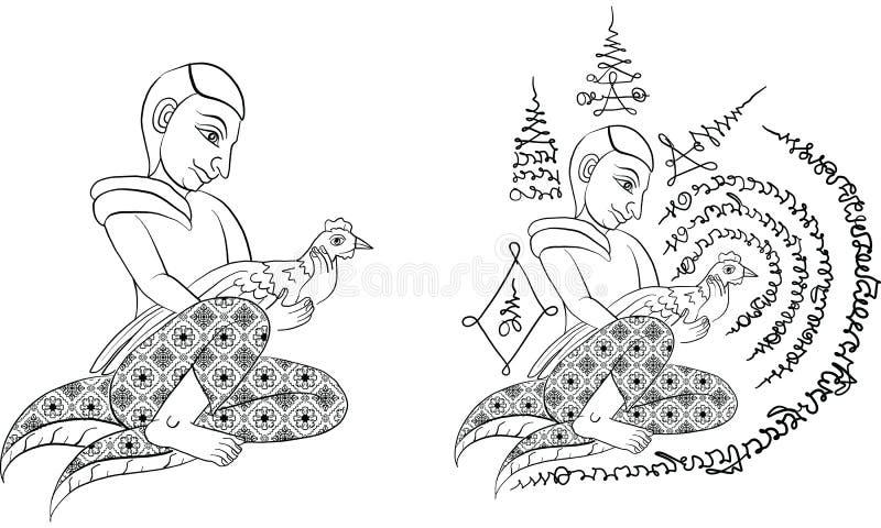 Tajlandzki tradycja obraz, Tajlandzki tatuaż, wektor royalty ilustracja