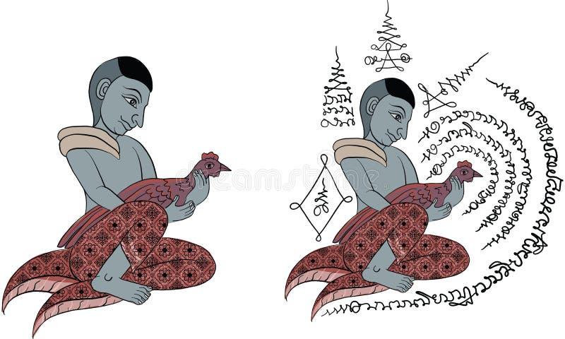 Tajlandzki tradycja obraz, Tajlandzki tatuaż, wektor ilustracja wektor