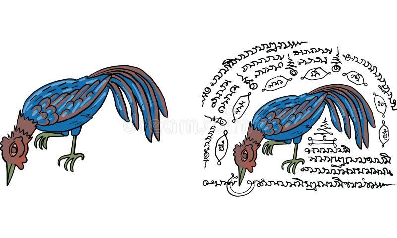 Tajlandzki tradycja obraz, Tajlandzki tatuaż, wektor ilustracji