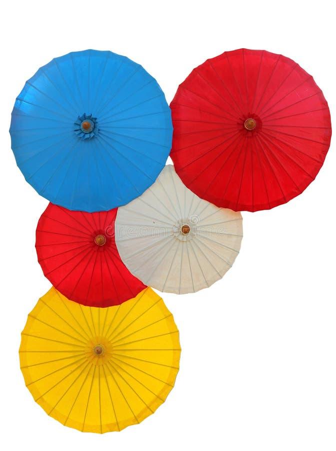 Tajlandzki tradycyjny parasol odizolowywający na białym tle obraz royalty free