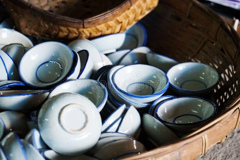 Tajlandzki tradycyjny pucharu kitchenware obrazy royalty free