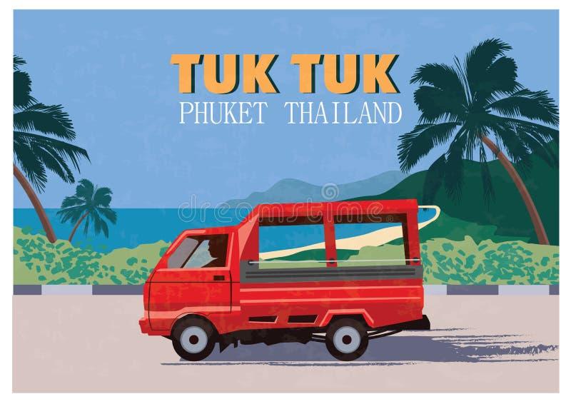Tajlandzki tradycyjny Tuk Tuk w Phuket Tajlandia również zwrócić corel ilustracji wektora royalty ilustracja