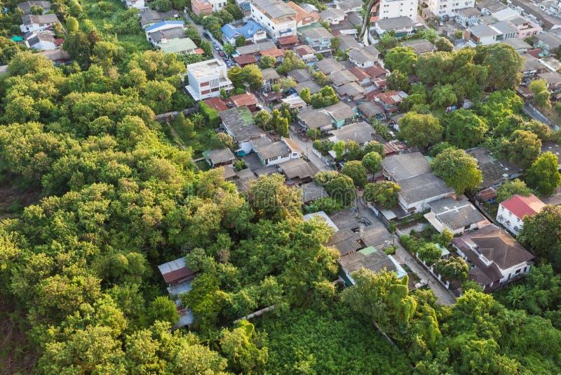 Tajlandzki wioski widok z lotu ptaka krajobraz zdjęcie royalty free