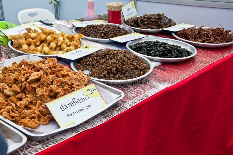 tajlandzkie insekt smażyć grupowe restauracje zdjęcie stock
