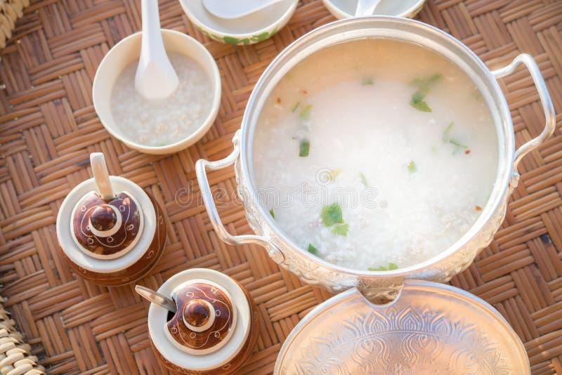Tajlandzkiego śniadania ustalona owsianka zdjęcia stock