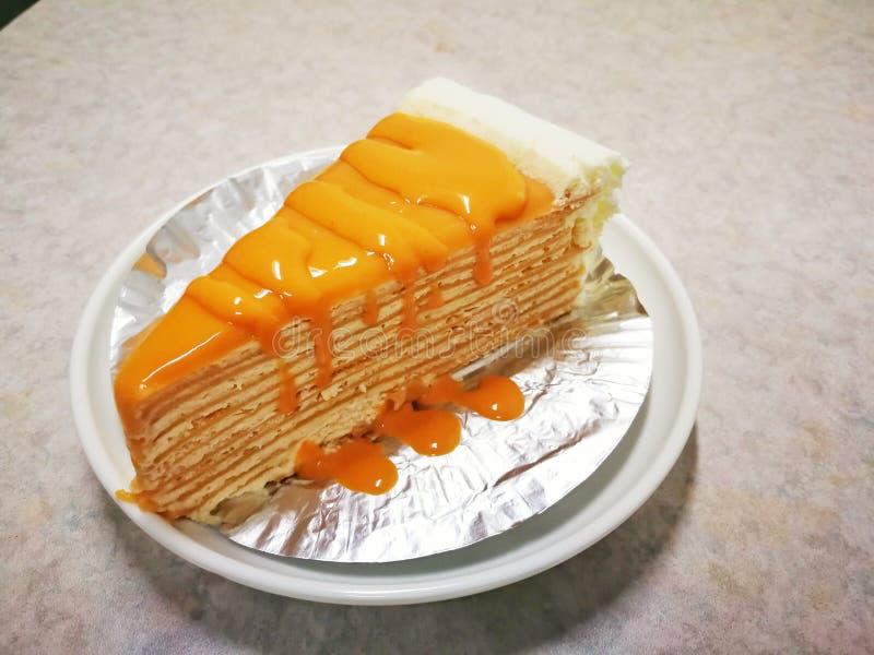 Tajlandzkiego herbacianego crape torta słodki domowej roboty tort Tajlandia deser fotografia stock