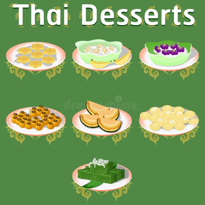 Tajlandzkiej khan deserów słodkiej cukrowej smakowitej balii Tim ściągania teraz bananowa kokosowa wyśmienicie cisawa domowej rob ilustracji