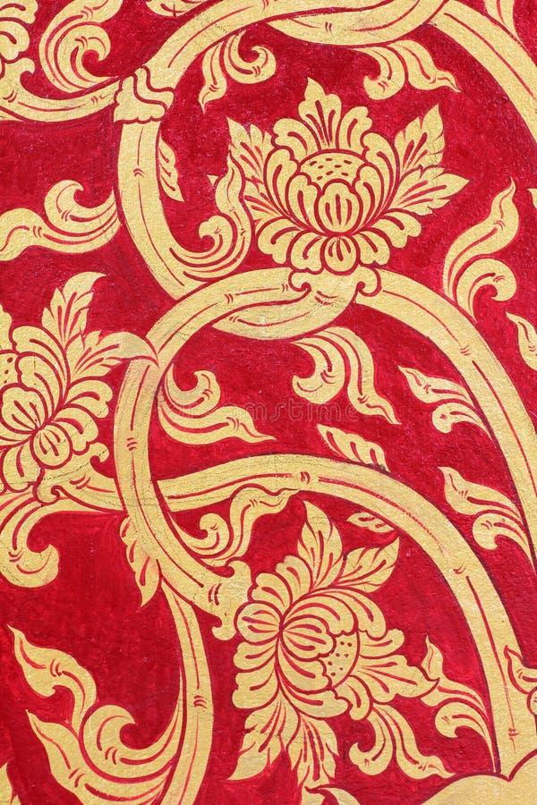 Download Tajlandzkiej Sztuki Złota ściany Czerwona Farba Obraz Stock - Obraz złożonej z kolor, koniec: 53791795