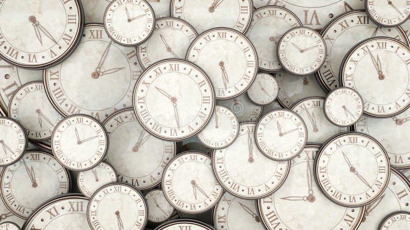 Tajma begreppet, grupp av klockor som 3d framför vektor illustrationer