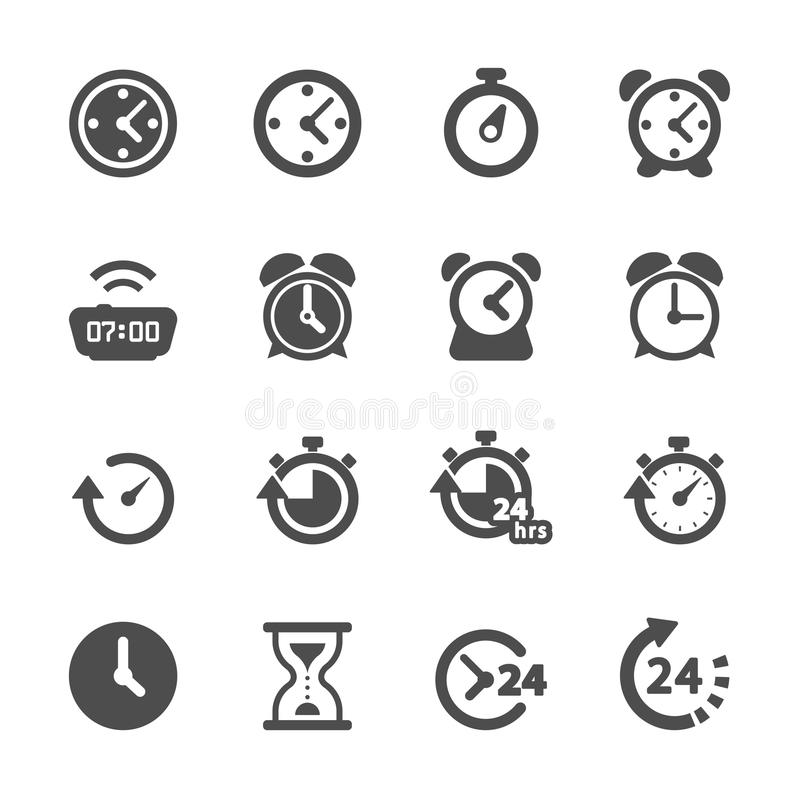 Tajma och ta tid på symbolsuppsättningen, vektorn eps10 royaltyfri illustrationer