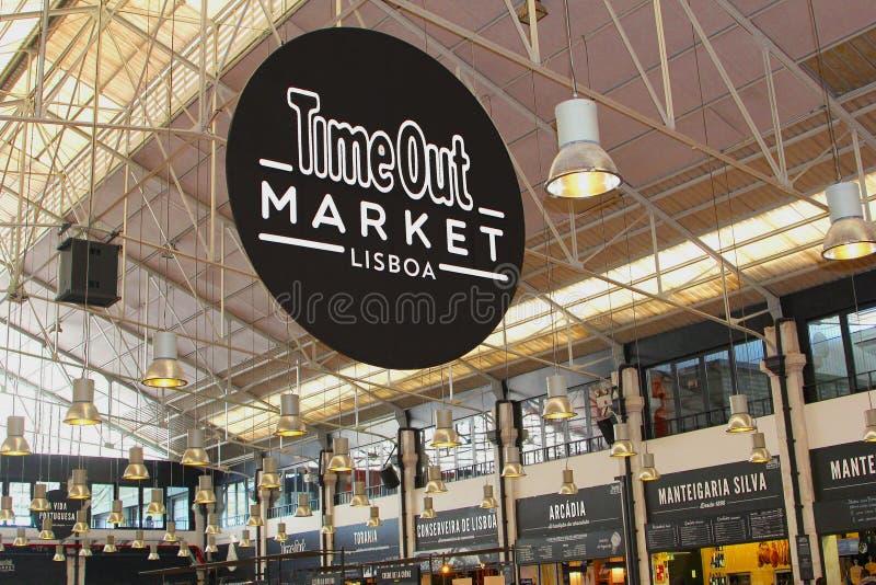 Tajma ut diversehandel för marknadsmatkorridoren, Lissabon royaltyfri fotografi