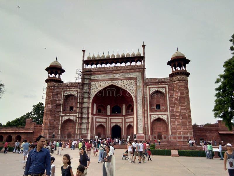 Tajmahal πύλη Ινδία, παγκόσμιο ομορφότερο tajmah Agra πολιτισμού στοκ εικόνα