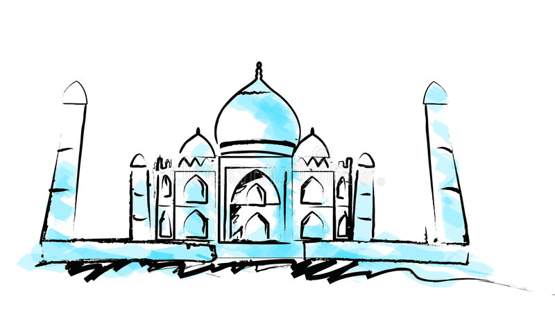 Tajmahal, illustration, Indian. Grunge, abstract, ancient, structural design vector illustration