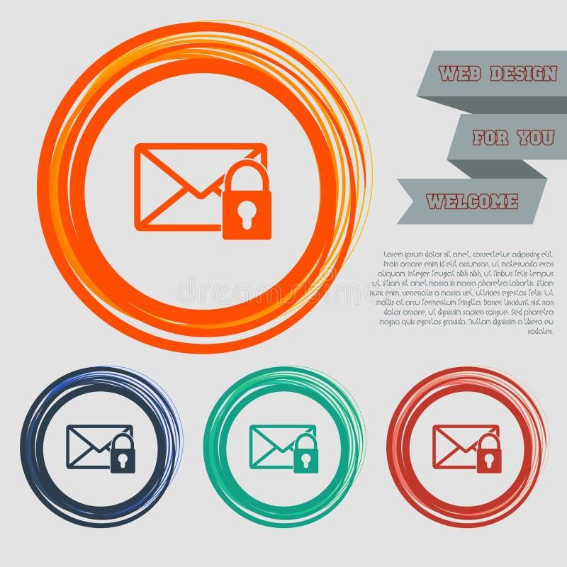 Tajna poczta ikona na czerwonym, błękitny, zielony, pomarańcze zapina dla twój projekta z astronautycznym tekstem i strony intern ilustracji