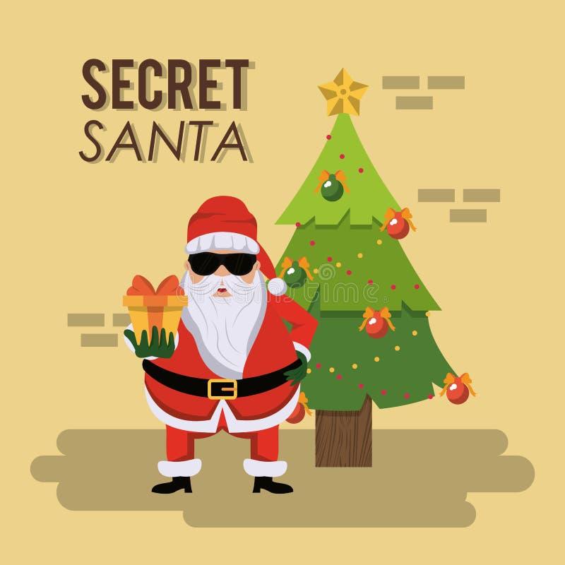 Tajna Santa kreskówka ilustracja wektor