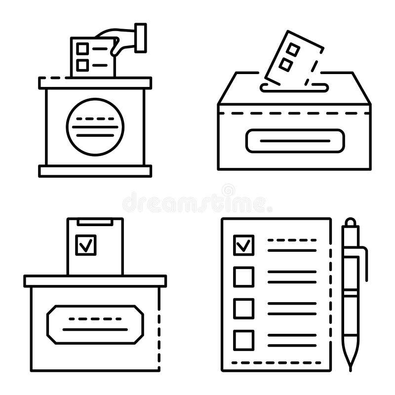 Tajne głosowanie ikony set, konturu styl royalty ilustracja