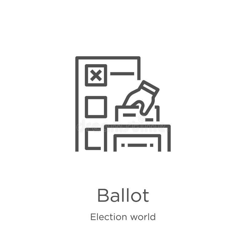 tajne głosowanie ikony wektor od wybory światu kolekcji Cienka kreskowa tajne głosowanie konturu ikony wektoru ilustracja Kontur, ilustracja wektor