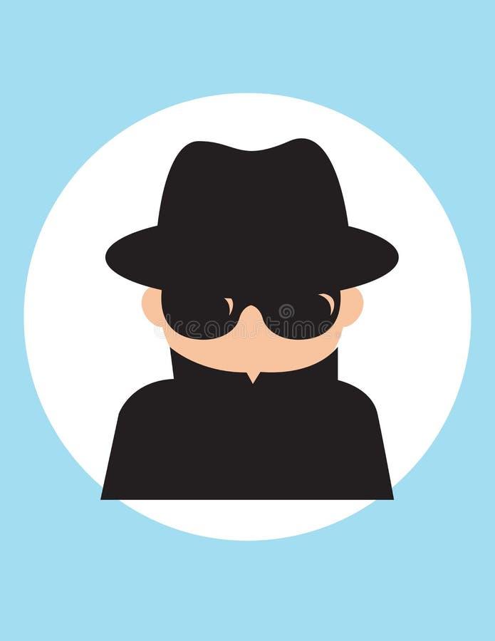 Tajnego agenta mężczyzna, dżentelmenu slużba wywiadowcza szpieg, zbiera polityczną, biznesową informację, Wektorowa mieszkanie st royalty ilustracja