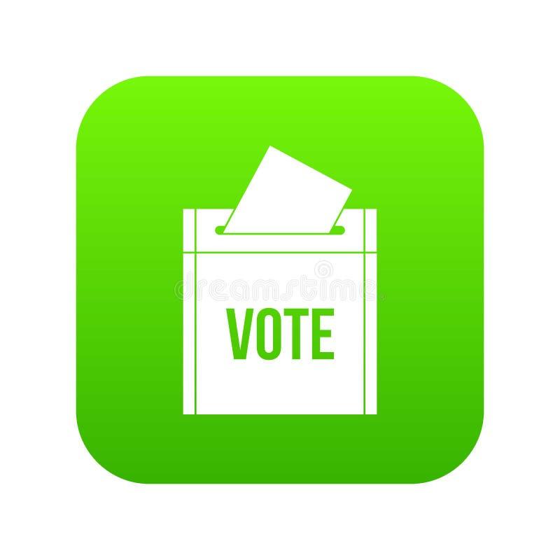 Tajnego głosowania pudełka ikony cyfrowa zieleń royalty ilustracja