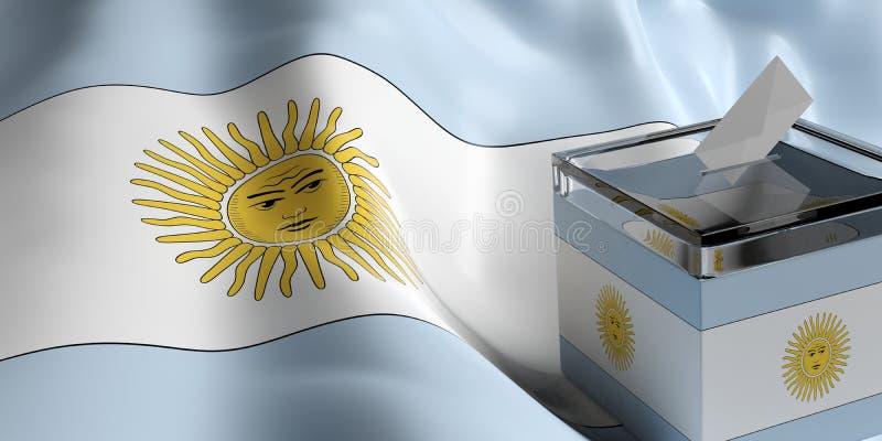 Tajnego głosowania pudełko na Argentyna flaga tle, 3d ilustracja ilustracji