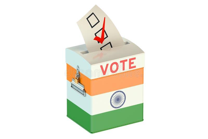 Tajnego głosowania pudełko z flaga India royalty ilustracja