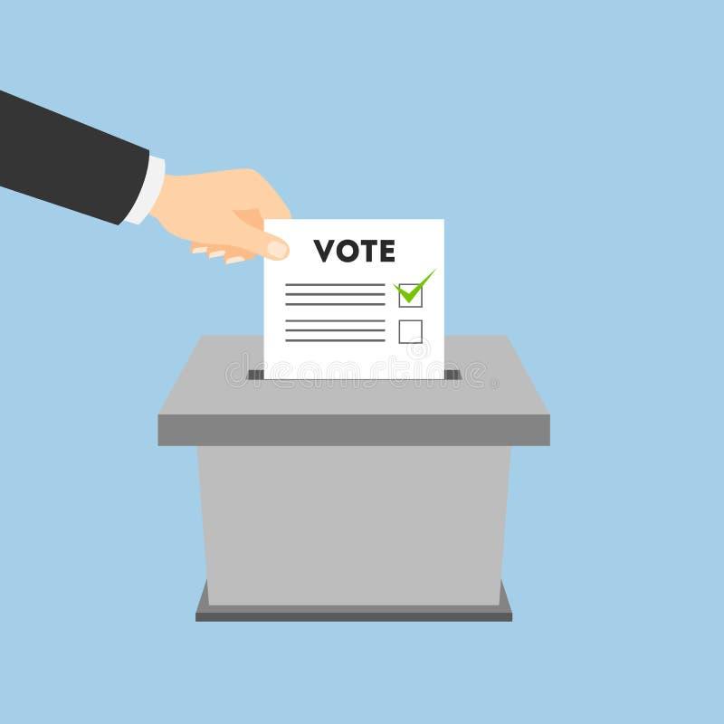 tajnego głosowania pudełko z głosowanie papierem royalty ilustracja