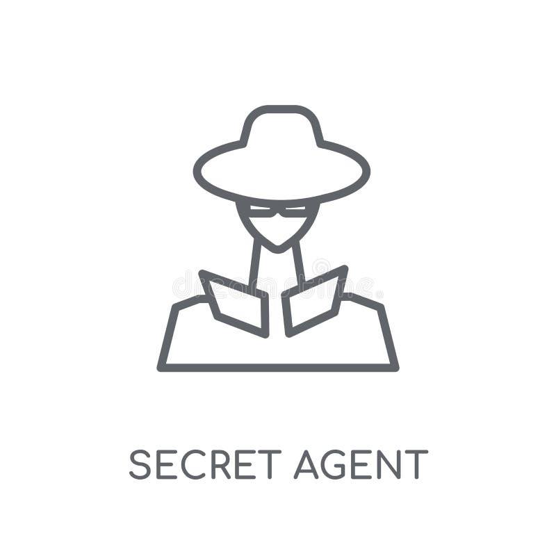 tajny agent liniowa ikona Nowożytny konturu tajnego agenta logo conce royalty ilustracja