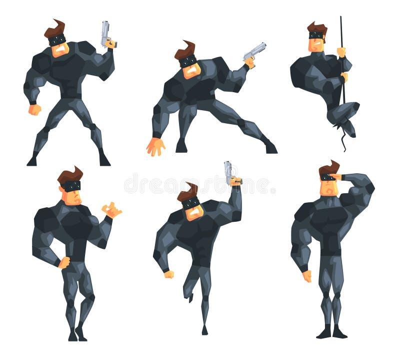 Tajny agent w różnych akcjach Pozujący z pistoletem, wiesza na arkanie, bieg i salutować, Mięśniowy mężczyzna w kostiumu i ilustracja wektor