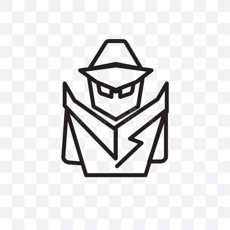 tajny agent wektorowa liniowa ikona odizolowywająca na przejrzystym tle, tajny agent przezroczystości pojęcie może używać dla sie ilustracja wektor