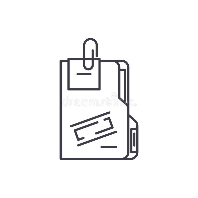 Tajny archiwum linii ikony pojęcie Tajnego archiwum wektorowa liniowa ilustracja, symbol, znak ilustracji