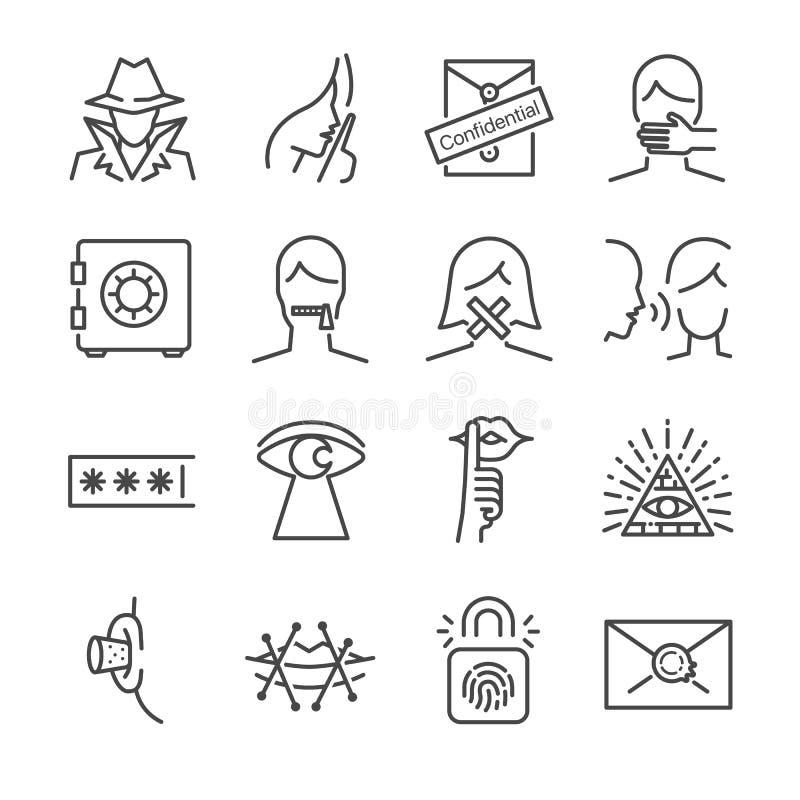 Tajny i poufny wektor linii ikony set Zawrzeć ikony jako sekret, zamyka up, kędziorek, szept, i więcej royalty ilustracja