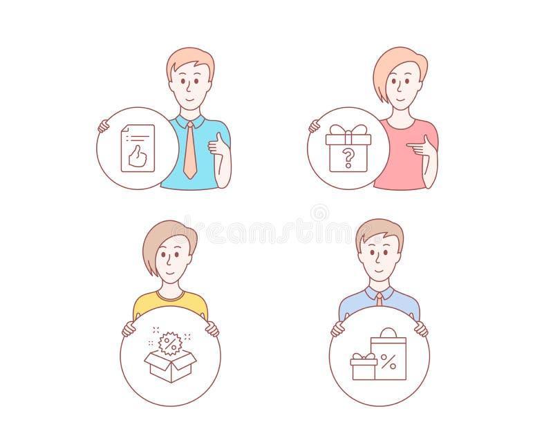 Tajny prezent, sprzedaż i Zatwierdzone dokument ikony, Robić zakupy znaka Niewiadomy pakunek, rabat, Jak symbol wektor ilustracji