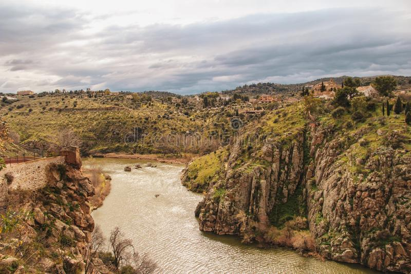 Tajo River from above in Toledo city, Spain stock photography