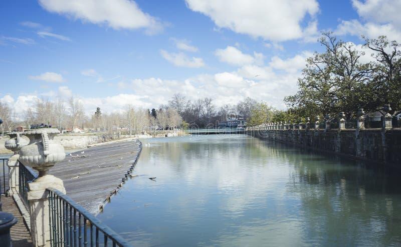 Tajo river. Gardens of the city of Aranjuez, located in Spain. S stock photo