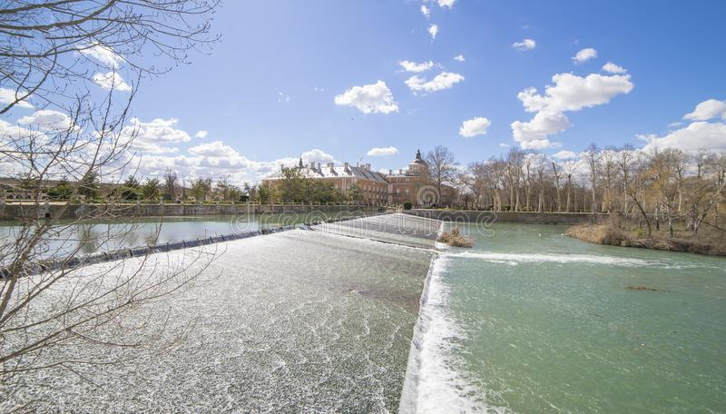 The Tajo River next to the Palace of Aranjuez. waterfalls with d royalty free stock photo