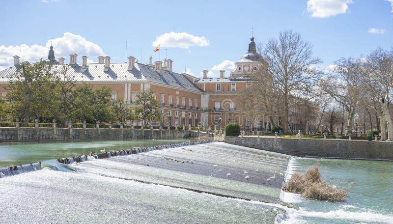 The Tajo River next to the Palace of Aranjuez. waterfalls with d stock photos