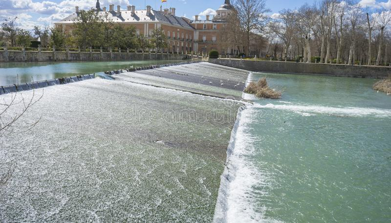 The Tajo River next to the Palace of Aranjuez. waterfalls with d stock images