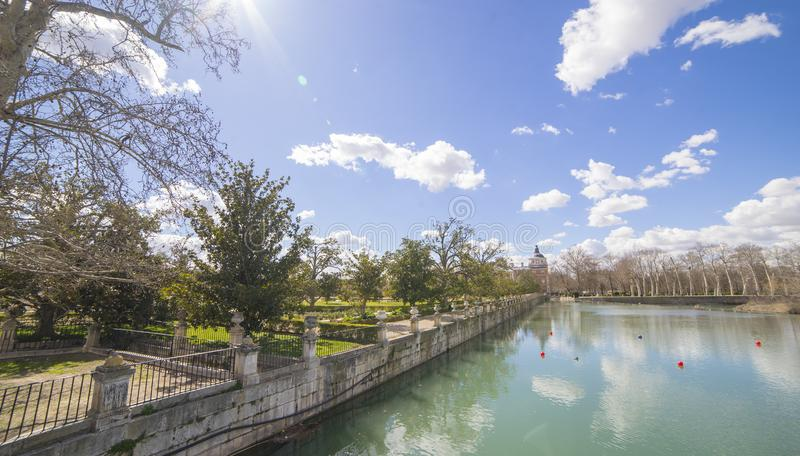 The Tajo River next to the Palace of Aranjuez. waterfalls with d royalty free stock photos