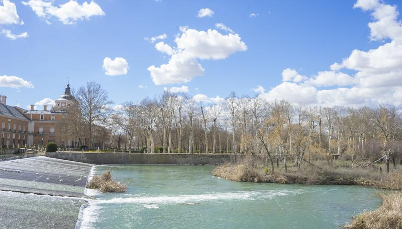 The Tajo River next to the Palace of Aranjuez. waterfalls with d royalty free stock image
