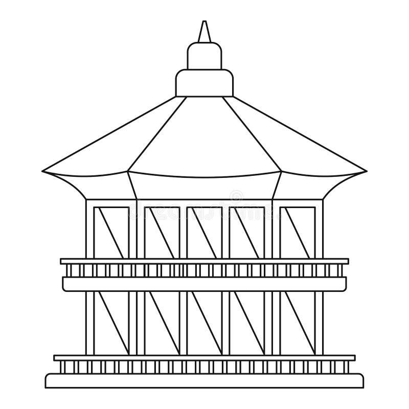 Tajwańska świątynna ikona, konturu styl royalty ilustracja