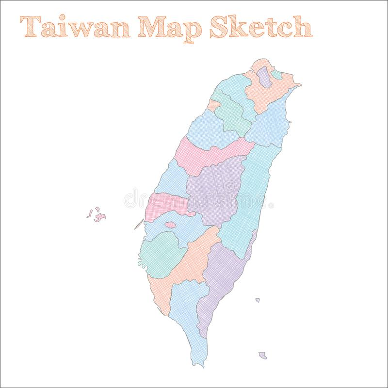 Tajwańska mapa ilustracja wektor