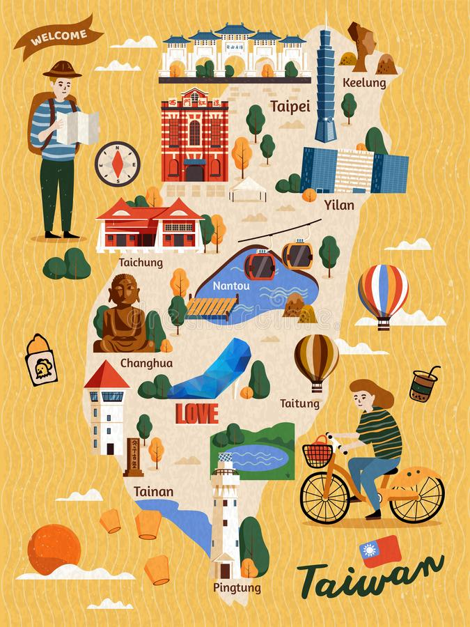Tajwańska podróży mapa ilustracja wektor